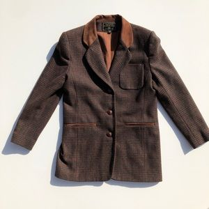 Vintage Campaign Int. Leather Collar Wool Blazer
